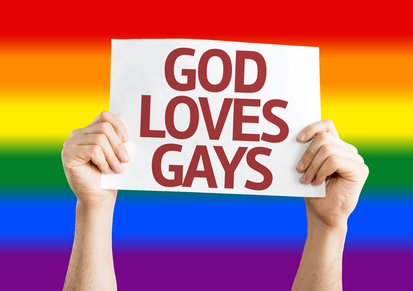 God Loves Gay card with Rainbow flag background