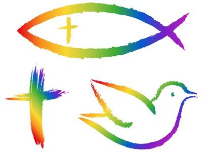 3 christliche Symbole in Regenbogenfarben: Kreuz, Fisch, Taube